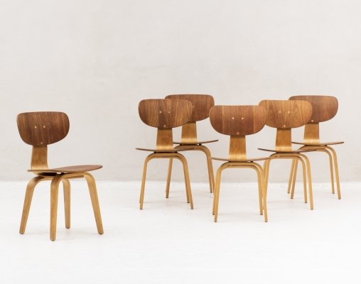 Set of 6 dining chairs 'SB02' by Cees Braakman for Pastoe, 1950's