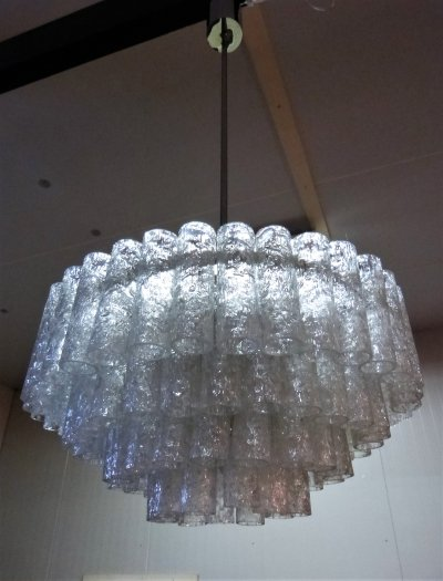 Large glass chandelier with 96 tubes by Doria, Germany 1960's
