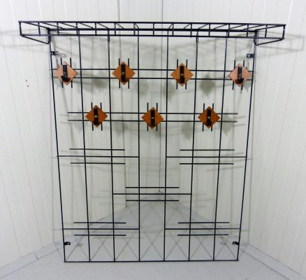 Black Wire Steel Wall Coat Rack, 1960's