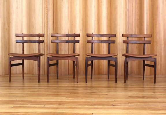 Set of four Poul Hundevad Model 30 rosewood dining chairs