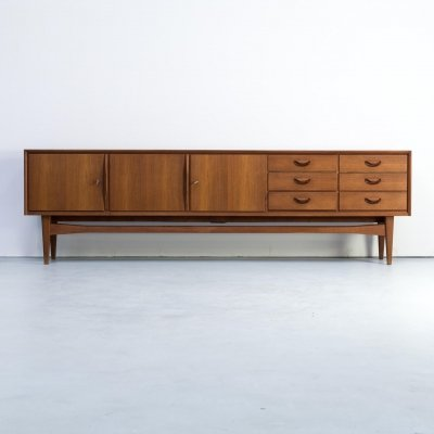 Large teak sideboard with three doors & six drawers, 1960s