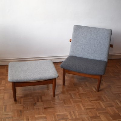 Finn Juhl Model 137 Japan Chair & Foot Stool for France & Son