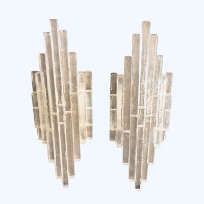 Set of Two Iconic Stacked Glass Wall Sconces by Albano Poli for Poliarte, 1960s
