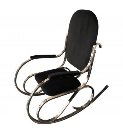 Mid-Century Modern Chrome Base & Black Velvet Italian Rocking Chair, circa 1970