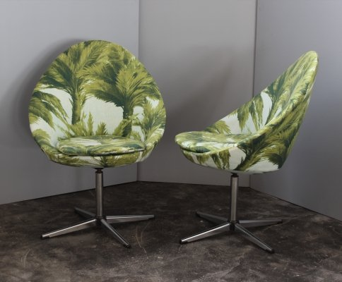 Couple of 'Palm' swivel armchairs with fabric by Christian Lacroix, Italy 1960s