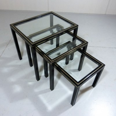 Pierre Vandel Nesting Tables in Black & Brass, 1970's