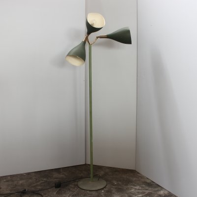 Green Midcentury floor lamp by Stilnovo, Italy 1950s
