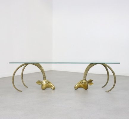 Brass ibix coffee table in Hollywood regency style, France 1970s