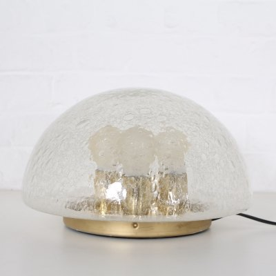 Brass & glass mushroom table lamp by Doria