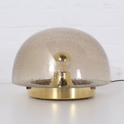 Brass & smoked blown glass Mushroom table lamp by Doria