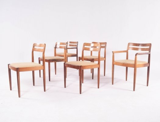 Mid-Century Rosewood set of Six H.W. Klein Dining Chairs for Bramin