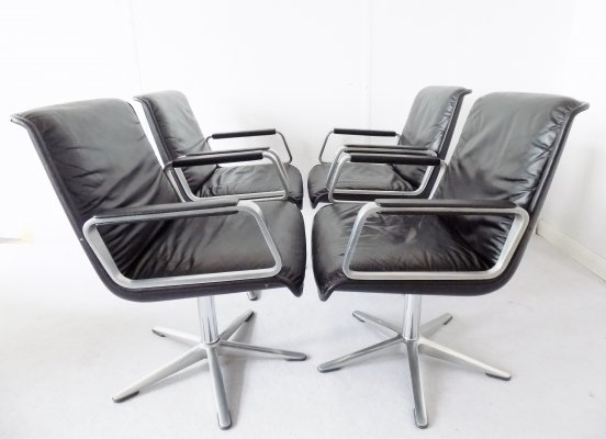 Set of 4 Wilkhahn Delta 2000 leather chairs by Delta Design, 1960s