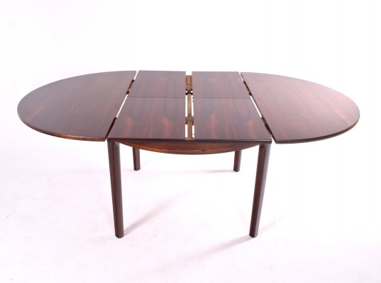Mid-Century Danish Rosewood Dining Table with Two Hidden Leaves