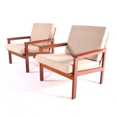 Mid-Century Pair of Illum Wikkelso Teak Easy Chairs for Niels Eilersen, 1960s