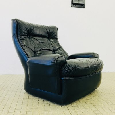 Fiberglass & black leather lounge chair by Michel Cadestin for Airborne, 1970s
