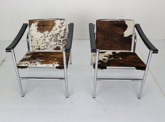 Set of 2 Pony Skin 'LC1' Armchairs by Le Corbusier for Cassina, Italy 1970s