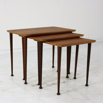 Set of nesting tables in teak, 1960s