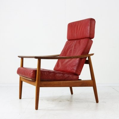 Arne Vodder 'FD 154' leather easy chair for France & Son
