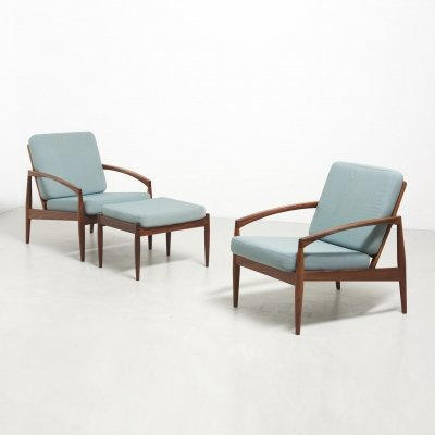 Pair of rosewood paper knife chairs with ottoman by Kai Kristiansen, 1950s