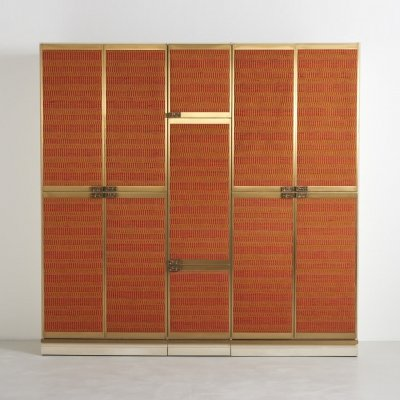 Exclusive wardrobe with bronze handles by Luciano Frigerio, 1970s
