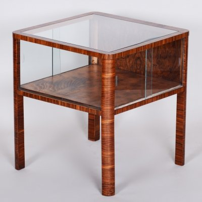 Small Czech Art Deco Walnut Table with Glass Showcase in the Table, 1930s