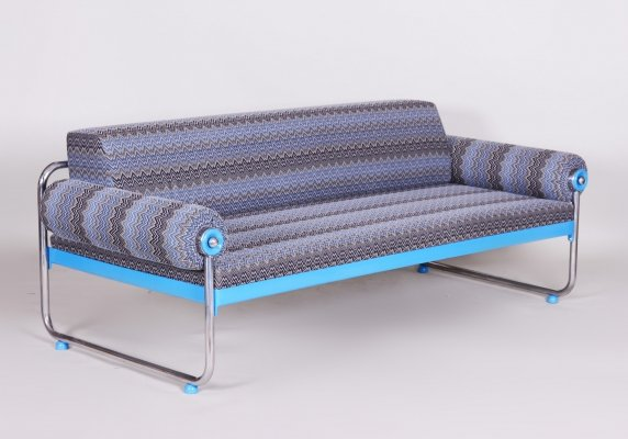 Bauhaus Tubular Chrome Blue Sofa, Germany 1920s