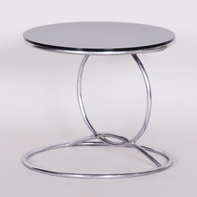 Unusual Chrome Bauhaus Round Small Table, 1950s