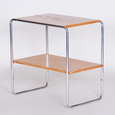 20th Century Small Czech Oakwood & Chrome Bauhaus Table, 1930s