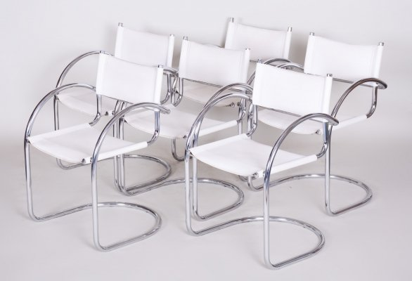 Set of 6 German Chrome Bauhaus Armchairs in High Quality White Leather, 1970s