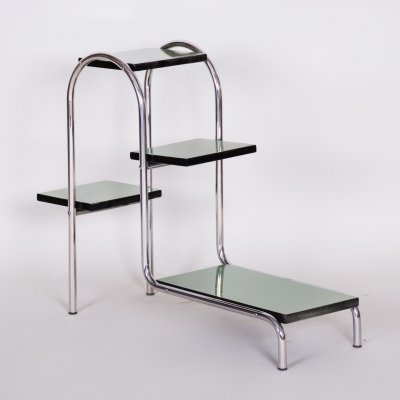 Czech Green Bauhaus Style Chrome Étagère by Robert Slezák, 1930s
