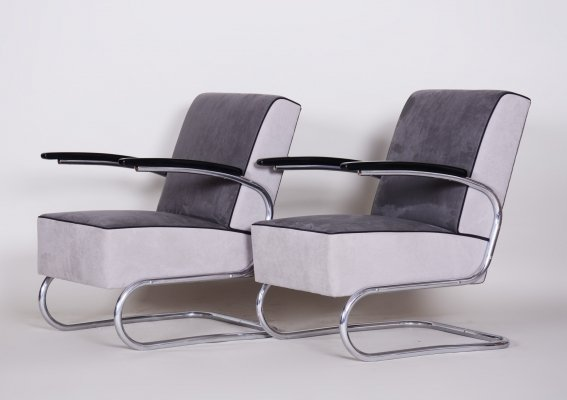 Pair of Tubular Steel Cantilever Armchairs by Mücke Melder, 1930s