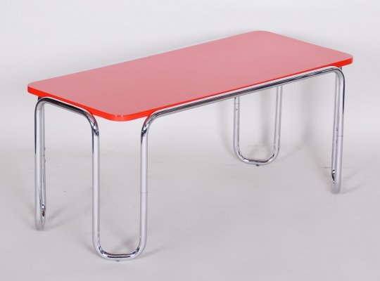 20th Century Small Red Czech Chrome Bauhaus Table by Kovona, 1950s