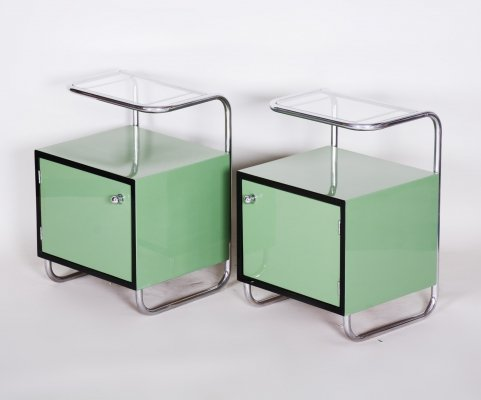 Pair of Green Vintage Bauhaus Bed Side Tables by Vichr, 1930s