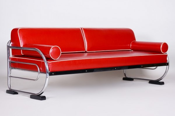 Bauhaus Red Tubular Chromed Steel Sofa by Robert Slezák, 1930s