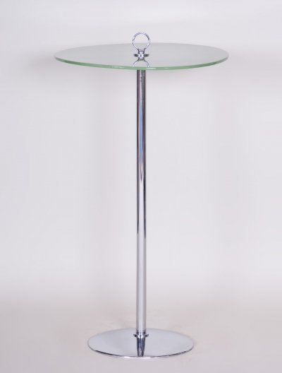 Small Tall Side Table in Chrome & Lacquered wood, 1940s