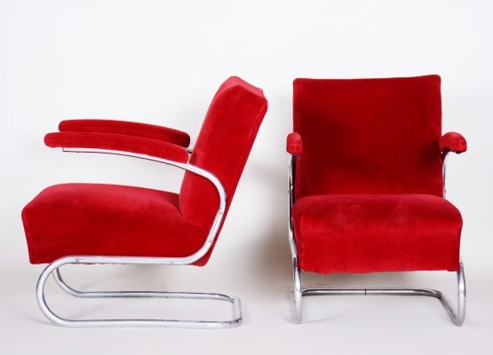 Pair of Red Bauhaus Tubular Steel Cantilever Armchairs by Mücke Melder, 1930s