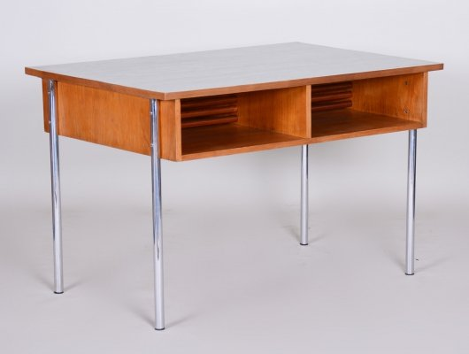 Oak Bauhaus Chrome Writing Desk by Kovona, 1940s