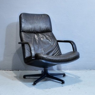 Leather swivel chair by Geoffrey Harcourt for Artifort, 1960's
