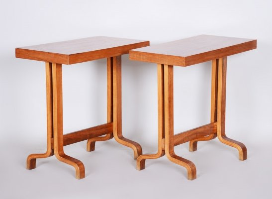 Pair of Czech Mahogany Small Side Tables, 1960s