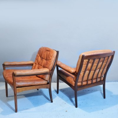 Pair of Wood & Leather Armchairs by Göte Möbler, 1960s