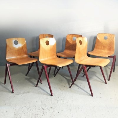 Set of 6 Vintage Industrial Pagwood Chairs by Woodmark, 1960's