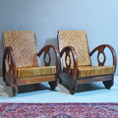 Pair of Mid Century Dutch Teak And Rattan Armchairs, 1950s