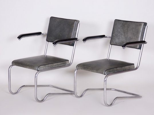 Pair of Grey Tubular Gottwald Armchairs by Ladislav Žák, 1930s