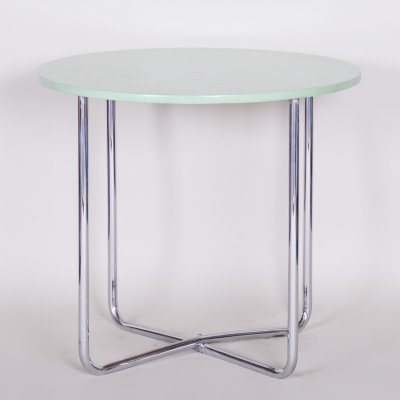Chrome Czech Bauhaus Green Rounded Table, 1930s