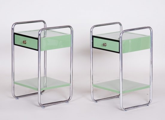 Pair of Czech Green Vintage Bauhaus Bed Side Tables, 1930s