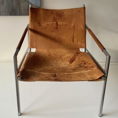 Martin Visser SZ02 lounge chair with original seat in light brown saddle leather