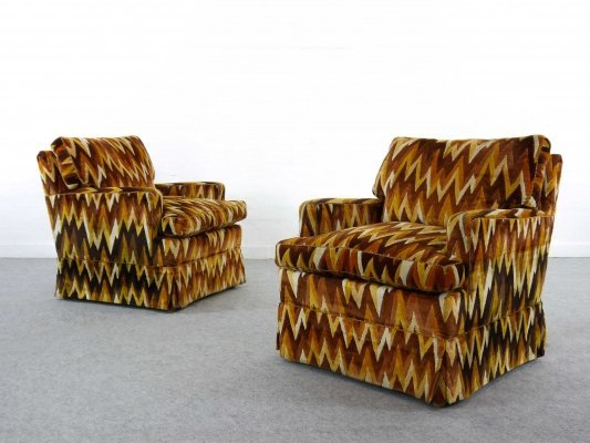 Pair of Bielefeder Werkstätten Fireplace Chairs in Missoni ZigZag Style fabrics, 1970s
