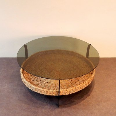Vintage coffee table with a metal frame, wicker basket & glass top, Netherlands 1970s