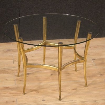 20th Century Gold Brass with Glass Italian Design Coffee Table, 1950