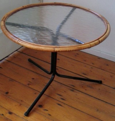 Cane table by Rohé Noordwolde, 1950s
